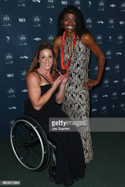 Tatyana McFadden and Chaunte Lowe attend the 2017 Team USA Awards on November 29 2017 in Westwood California Chaunte Lowe tonight received her Bronze...