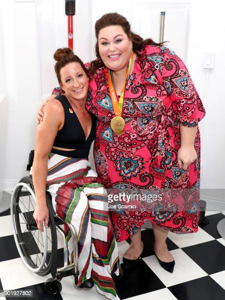 Tatyana McFadden and Chrissy Metz attend GOLD MEETS GOLDEN The 5th Anniversary Refreshed by CocaCola Globes Weekend Gets Sporty with Nicole Kidman...