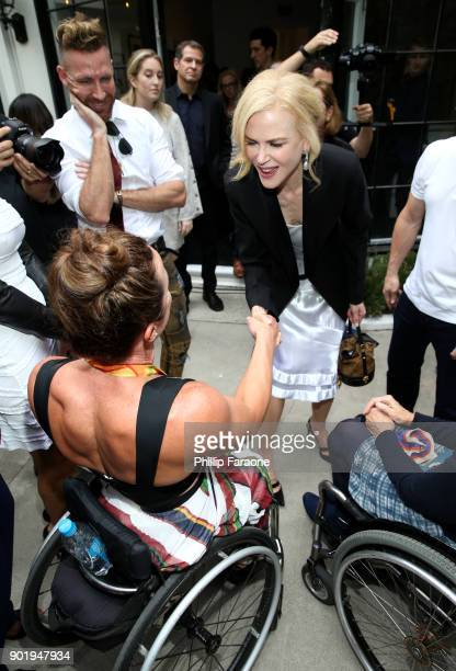 Tatyana McFadden and Nicole Kidman attend GOLD MEETS GOLDEN The 5th Anniversary Refreshed by CocaCola Globes Weekend Gets Sporty with Nicole Kidman...