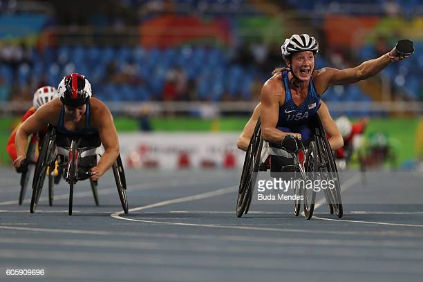 Tatyana McFadden of the United States celebrate winning the gold medal in the Women's 5000m T54 Final on day 8 of the Rio 2016 Paralympic Games at...