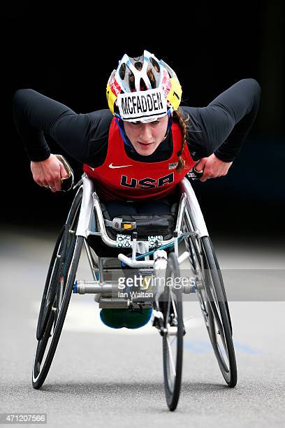 Tatyana McFadden of the United States competes during the Virgin Money London Marathon on April 26 2015 in London England