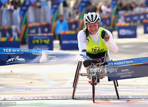 Tatyana McFadden of the United States crossed the finish line to win the Pro Women's Wheelchair during the 2016 TCS New York City Marathon in Central...
