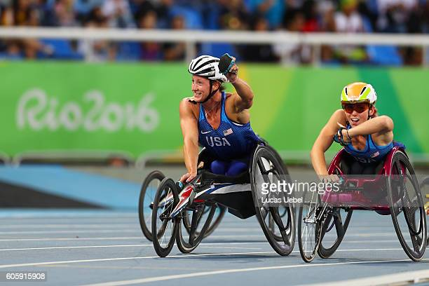 Tatyana McFadden of United States competes in the Women's 5000m - T54 final during day 8 of the Rio 2016 Paralympic Games at the Olympic Stadium on...