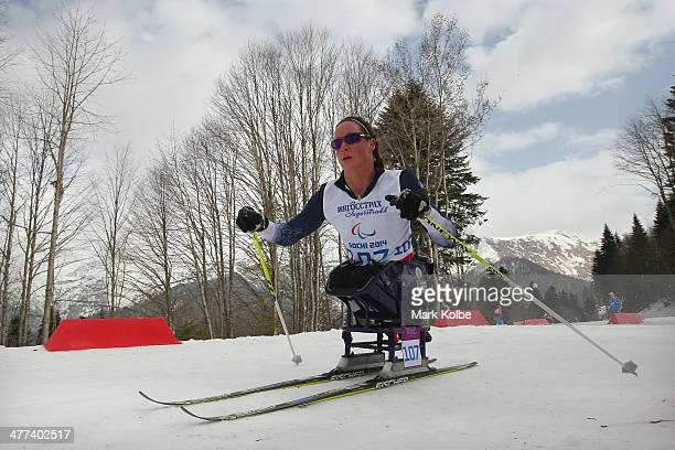 Tatyana McFadden of USA competes in the women's 12km sitting cross-country skiing during day two of Sochi 2014 Paralympic Winter Games at Laura...
