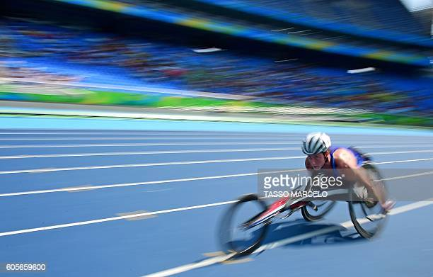 Tatyana McFadden scores a record in the category Women's 5000m - T54 at Engenhao Stadium during the Paralympic Games in Rio de Janeiro, Brazil, on...
