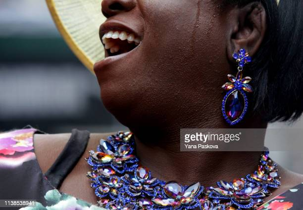Tatyana Monet wears her Easter garb in Midtown East for the annual Easter Parade on April 21 2019 in New York City Each year New Yorkers put on their...