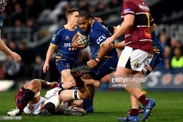 Tau Koloamatangi of Otago attempts to break through the defence during the round one Bunnings NPC match between Otago and Southland at Forsyth Barr...