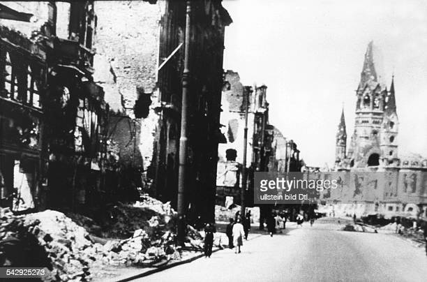 Tauentzienstrasse and Kaiser Wilhelm Memorial Church in Berlin in June 1945