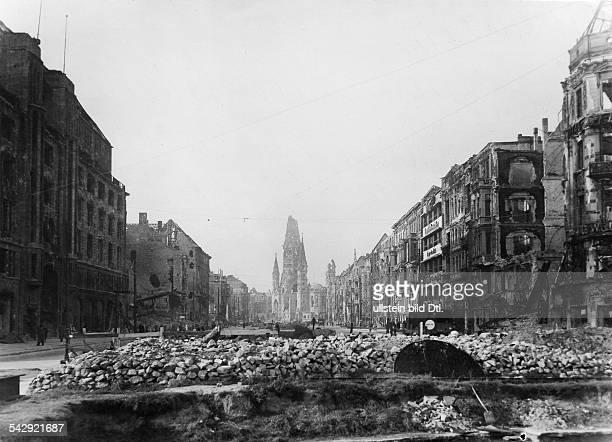 Tauentzienstrasse and Kaiser Wilhelm Memorial Church in Berlin 1945Photo Walter Gircke