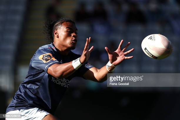 Taufa Funaki of Auckland warms up during the Mitre 10 Cup Final between Auckland and Tasman at Eden Park on November 28, 2020 in Auckland, New...