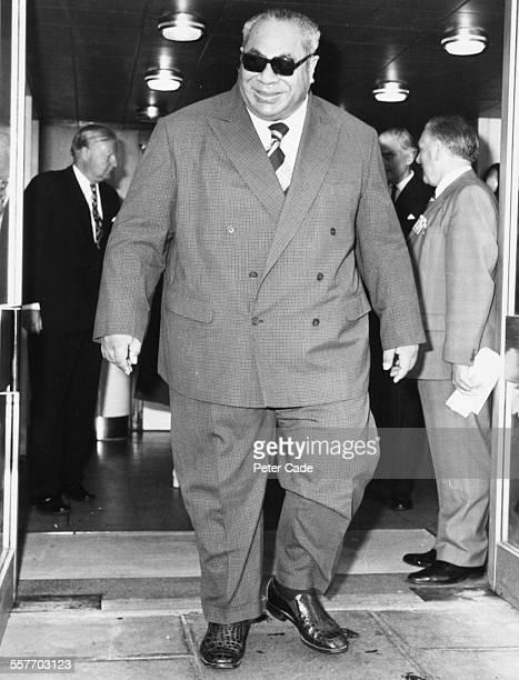 Taufa'ahau Tupou IV, King of Tonga, arriving at Heathrow Airport in London, June 16th 1975.
