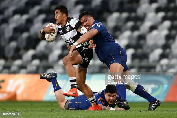 Taulagi of Hawkes Bay is tackled during the Mitre 10 Cup Championship Semi Final match between Otago and Hawke's Bay on October 20, 2018 in Dunedin,...