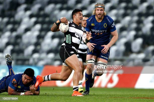 Taulagi of Hawkes Bay makes a break during the Mitre 10 Cup Championship Semi Final match between Otago and Hawke's Bay on October 20 2018 in Dunedin...