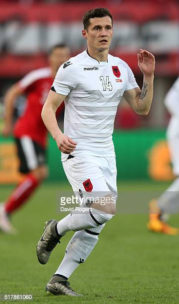 Taulant Xhaka of Albania looks on during the international friendly match between Austria and Albania at the Ernst Happel Stadium on March 26 2016 in...