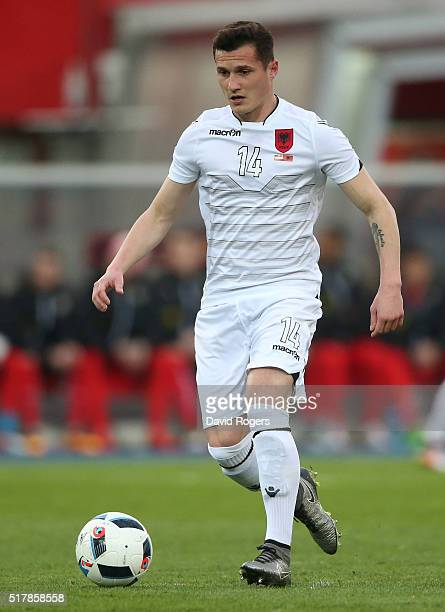 Taulant Xhaka of Albania runs with the ball during the international friendly match between Austria and Albania at the Ernst Happel Stadium on March...