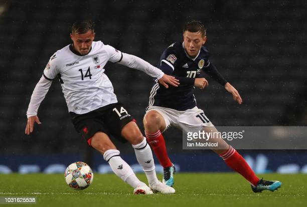 Taulant Xhaka of Albania vies with Callum McGregor of Scotland during the UEFA Nations League C group one match between Scotland and Albania at...