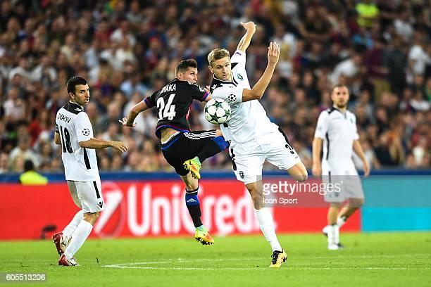 Taulant Xhaka of Basel and Igor Plastun of Ludogorets during the Uefa Champions League match between Basel Fc and PFC Ludogorets Razgrad on September...
