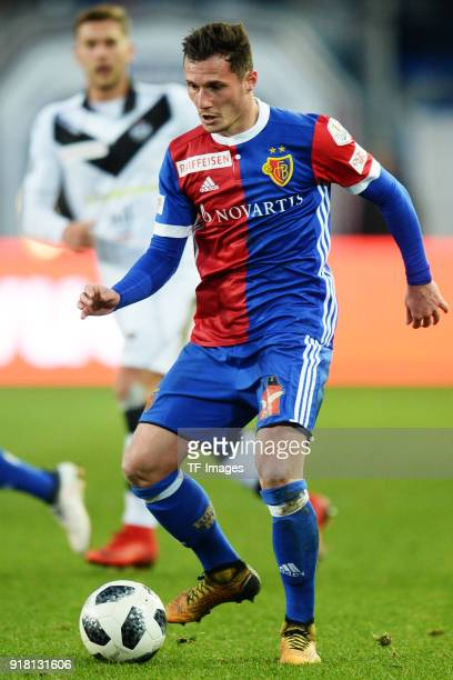 Taulant Xhaka of Basel controls the ball during the Raiffeisen Super League match between FC Basel and FC Lugano at St Jakob Park on February 4 2018...
