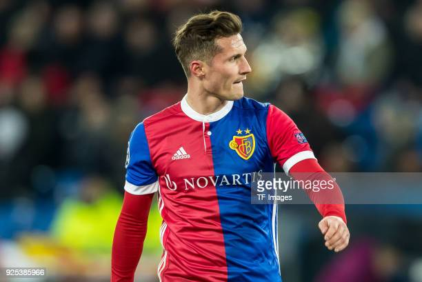 Taulant Xhaka of Basel looks on during the UEFA Champions League Round of 16 First Leg match between FC Basel and Manchester City at St JakobPark on...