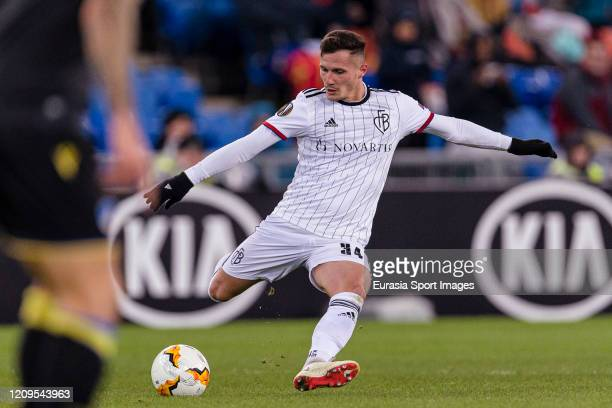 Taulant Xhaka of Basel looks to bring the ball down during the UEFA Europa League round of 32 second leg match between FC Basel and APOEL Nikosia at...