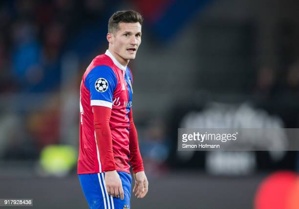 Taulant Xhaka of Basel reacts during the UEFA Champions League Round of 16 First Leg match between FC Basel and Manchester City at St JakobPark on...