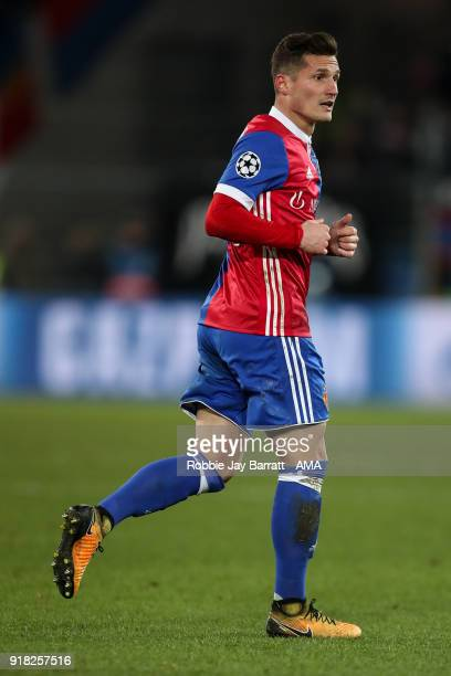 Taulant Xhaka of FC Basel during the UEFA Champions League Round of 16 First Leg match between FC Basel and Manchester City at St JakobPark on...
