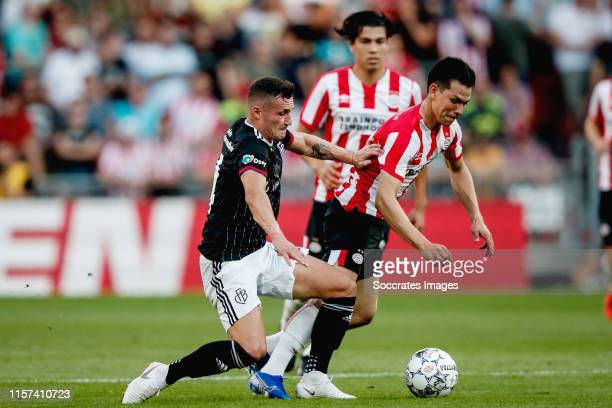 Taulant Xhaka of FC Basel, Hirving Lozano of PSV during the UEFA Champions League match between PSV v Fc Basel at the Philips Stadium on July 23,...