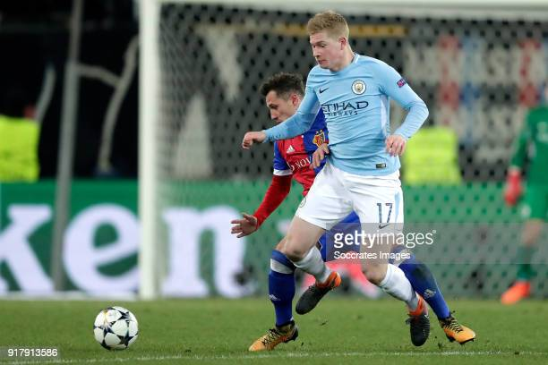 Taulant Xhaka of FC Basel Kevin de Bruyne of Manchester City during the UEFA Champions League match between Fc Basel v Manchester City at the St...