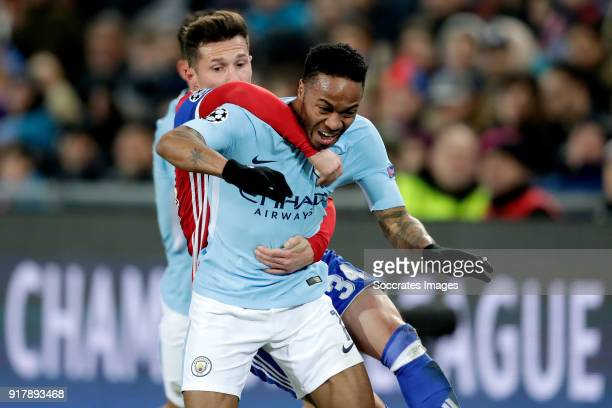 Taulant Xhaka of FC Basel Raheem Sterling of Manchester City during the UEFA Champions League match between Fc Basel v Manchester City at the St...