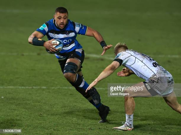 Taulupe Faletau of Bath is tackled by Chris Harris during the Gallagher Premiership Rugby match between Bath and Gloucester at The Recreation Ground...