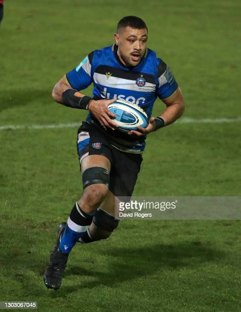 Taulupe Faletau of Bath runs with the ball during the Gallagher Premiership Rugby match between Bath and Gloucester at The Recreation Ground on...