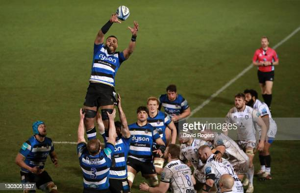 Taulupe Faletau of Bath wins the line out during the Gallagher Premiership Rugby match between Bath and Gloucester at The Recreation Ground on...