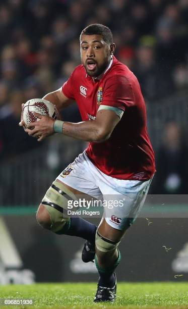 Taulupe Faletau of the Lions breaks with the ball during the match between the New Zealand Maori and the British Irish Lions at Rotorua International...