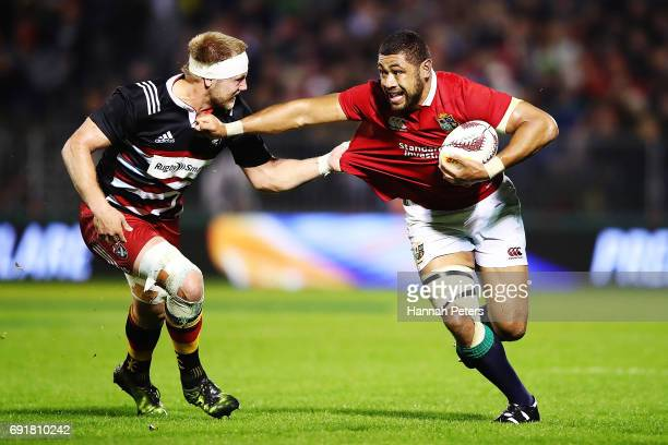 Taulupe Faletau of the Lions charges forward during the match between the New Zealand Provincial Barbarians and British Irish Lions at Toll Stadium...