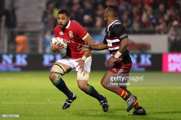 Taulupe Faletau of the Lions looks to step during the match between the New Zealand Provincial Barbarians and British Irish Lions at Toll Stadium on...