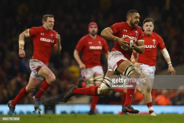 Taulupe Faletau of Wales during the NatWest Six Nations match between Wales and Italy at the Principality Stadium on March 11 2018 in Cardiff Wales
