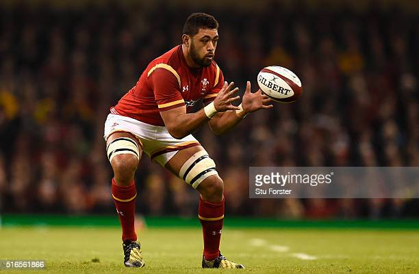 Taulupe Faletau of Wales in action during the RBS Six Nations match between Wales and Italy at the Principality Stadium on March 19 2016 in Cardiff...