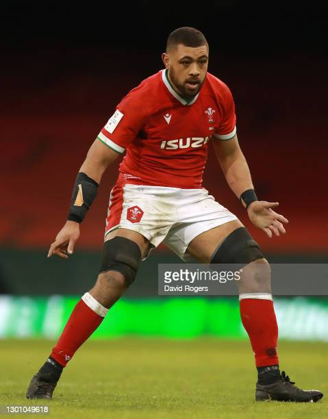 Taulupe Faletau of Wales looks on during the Guinness Six Nations match between Wales and Ireland at Principality Stadium on February 07, 2021 in...