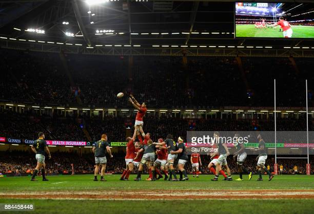 Taulupe Faletau of Wales wins a lineout ball during the International between Wales and South Africa at at Principality Stadium on December 2 2017 in...