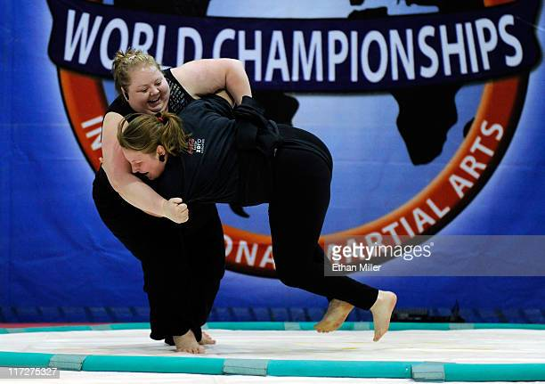 Taunia Arave and Heather Colton battle during the US National Sumo Championships at the Riviera Hotel Casino June 24 2011 in Las Vegas Nevada