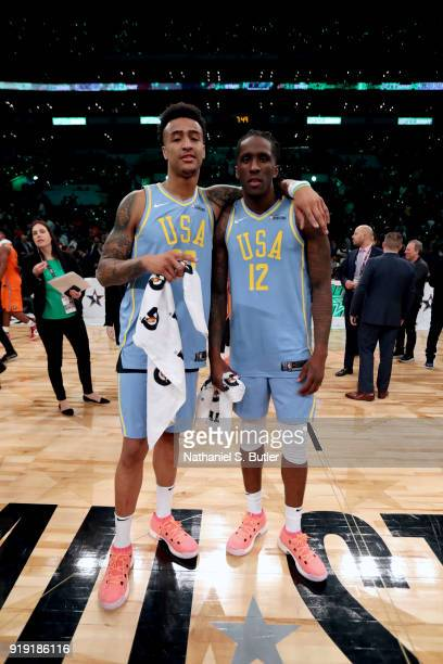Taurean Prince and John Collins of the USA Team after the game against the World Team during the Mountain Dew Kickstart Rising Stars Game during...