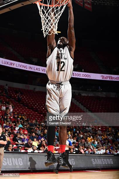 Taurean Prince of Atlanta Hawks goes for the dunk during the game against the Brooklyn Nets during the 2016 Las Vegas Summer League on July 11 2016...