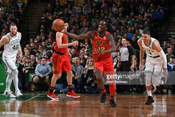 Taurean Prince of the Atlanta Hawks attempts a fast break during the game against the Boston Celtics on February 2 2018 at the TD Garden in Boston...