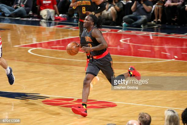 Taurean Prince of the Atlanta Hawks brings the ball up court during the game against the Washington Wizards during Game Two of the Eastern Conference...