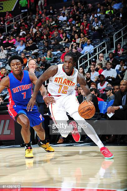 Taurean Prince of the Atlanta Hawks drives to the basket against the Detroit Pistons on October 13 2016 at Philips Arena in Atlanta Georgia NOTE TO...