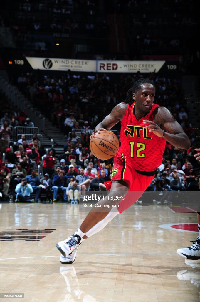 Taurean Prince #12 of the Atlanta Hawks drives to the basket against the Brooklyn Nets on March 26, 2017 at Philips Arena in Atlanta, Georgia.