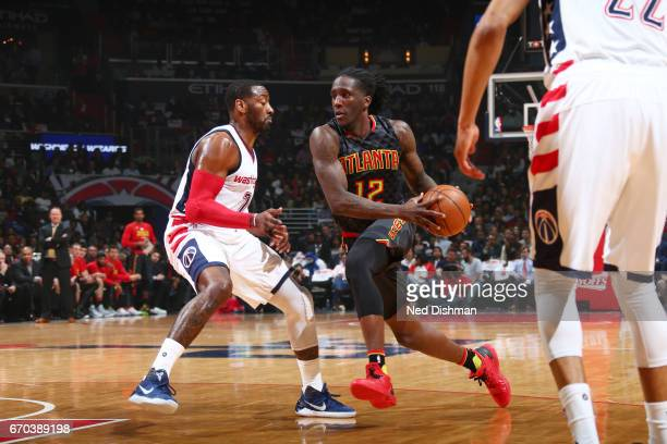 Taurean Prince of the Atlanta Hawks drives to the basket against the Washington Wizards during the Eastern Conference Quarterfinals of the 2017 NBA...
