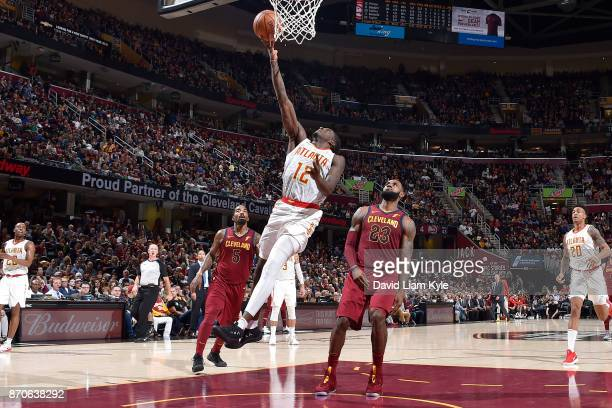 Taurean Prince of the Atlanta Hawks drives to the basket against the Cleveland Cavaliers on November 5 2017 at Quicken Loans Arena in Cleveland Ohio...