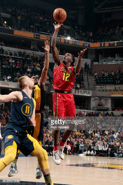 Taurean Prince of the Atlanta Hawks drives to the basket during the game against the Indiana Pacers on February 23 2018 at Bankers Life Fieldhouse in...