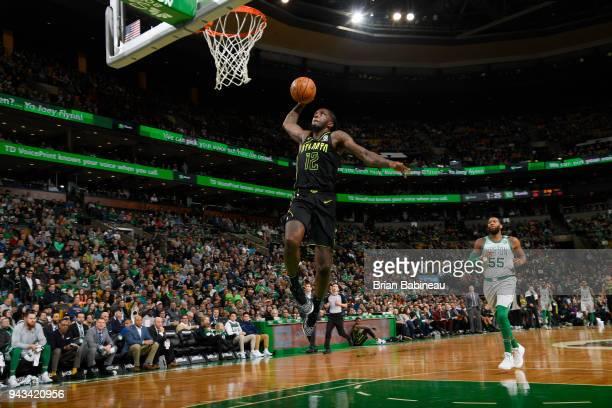 Taurean Prince of the Atlanta Hawks dunks against the Boston Celtics on April 8 2018 at the TD Garden in Boston Massachusetts NOTE TO USER User...